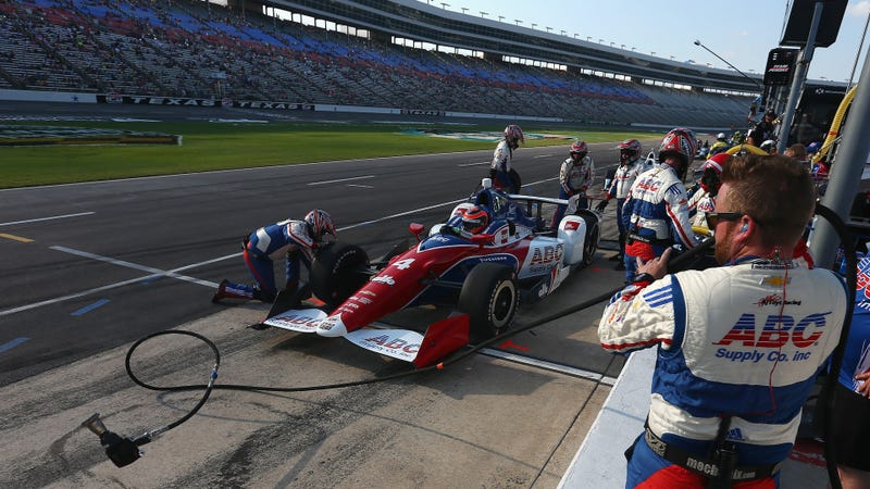 Verizon IndyCar Series Conor Daly actually taking a pit stop at Texas Motor Speedway, which he should have done off of the race track as well. Photo credit: Sarah Crabill/Getty Images