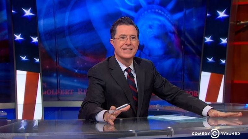 Illustration for article titled There's a raffle to win The Colbert Report's desk and fireplace