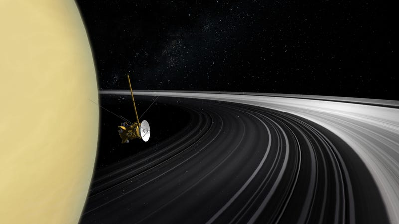 Artist's concept of Cassini in Saturn's rings