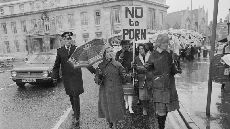 People demonstrating at an anti-porn protest, London, UK, 15th March 1979.