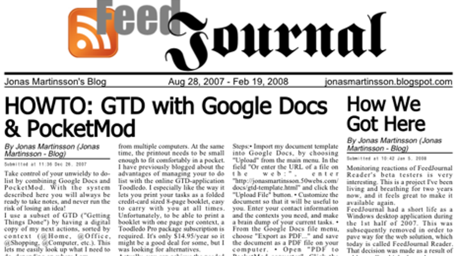 Turn Your Favorite RSS Feeds into a Newspaper with FeedJournal