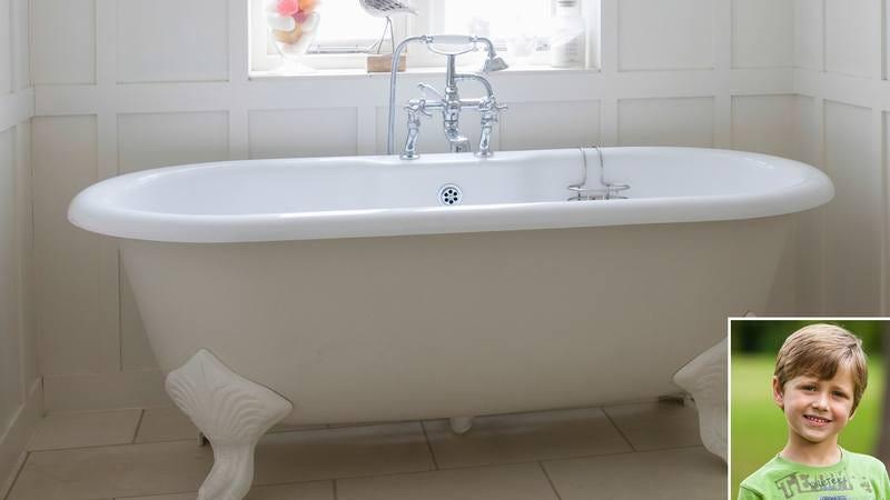 The bathtub of the dying boy.