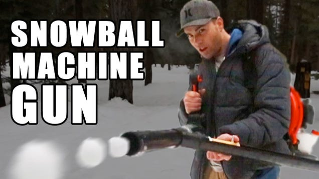 Make an Awesome Snowball Machine Gun Out of a Landscaping Leaf Blower