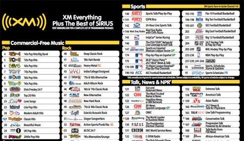 the complete new xm sirius channel listing sorry xm fans rh gizmodo com sirius radio guide printable sirius radio channels canada