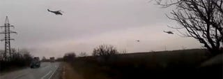 Illustration for article titled Video: Russian attack helicopters entering Ukraine