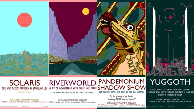 Illustration for article titled Travel posters advertise literature's most fantastical vacation spots
