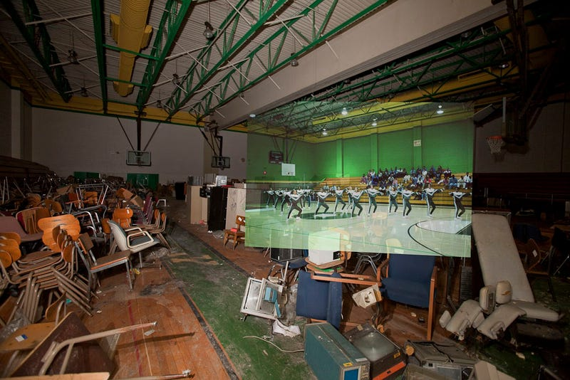 Illustration for article titled Composite photos show a Detroit school before and after it was abandoned