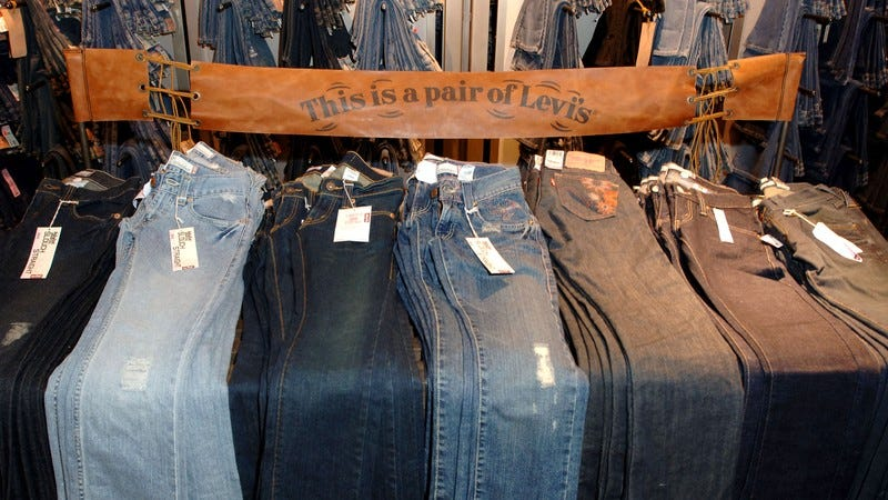 A bunch of Levi's jeans.