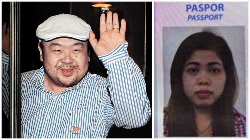 Kim Jong-nam a la izquierda y Siti Aisyah a la derecha. Imágenes: AP