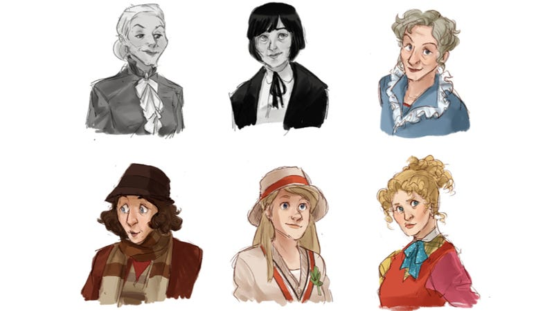Illustration for article titled Completely Adorable Art that Depicts the Eleven Doctors as Time Ladies