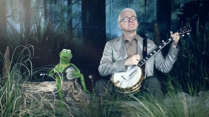 "Illustration for article titled Behold! Steve Martin and Kermit The Frog perform ""Dueling Banjos"""