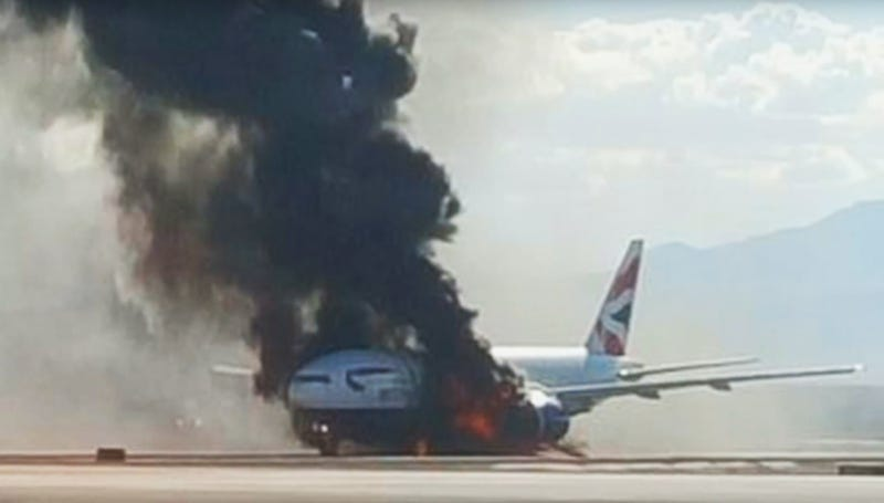 British Airways Boeing 777 on fire in Las Vegas after an uncontained engine failure. Photo via Google images.
