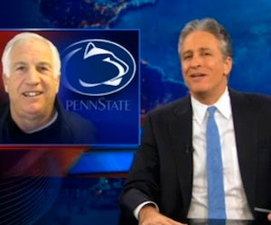"""Illustration for article titled Jon Stewart On The Costas-Sandusky Interview: """"The Only Time You Repeat A Question Is When You're Guilty!"""""""