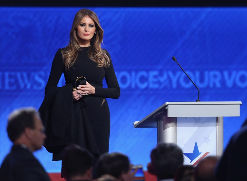 Melania Trump, wife of Republican presidential candidate Donald Trump, stands onstage following the Republican presidential debate at St. Anselm College in Manchester, N.H., on Feb. 6, 2016.Joe Raedle/Getty Images