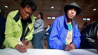 Two women vote in the presidential election Nov. 4, 2008, in Birmingham, Ala.Mario Tama/Getty Images