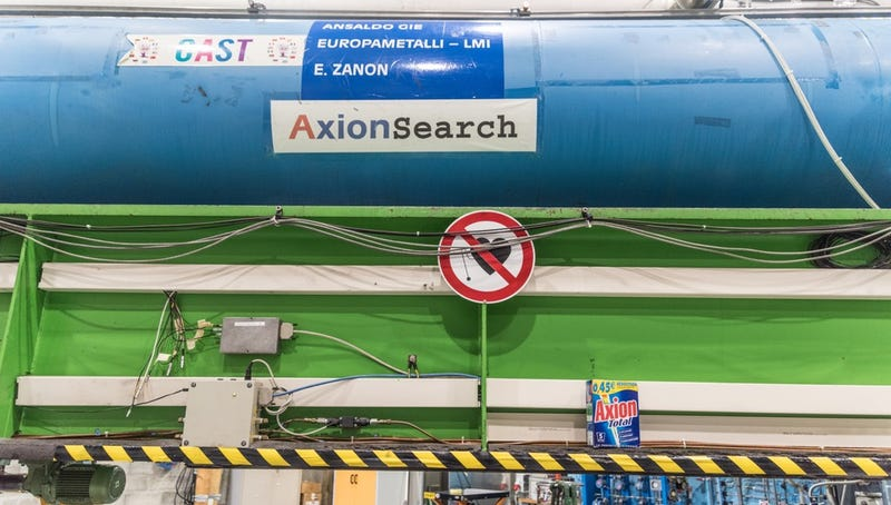 CAST with a box of Axion detergent (Image: CERN)