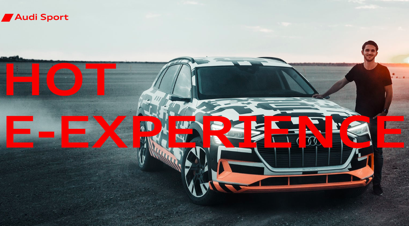 A timely image caption from an Audi e-tron promo.