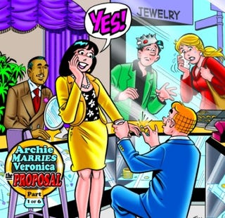 Illustration for article titled Archie to propose to Veronica! (Jughead to remain closeted.)