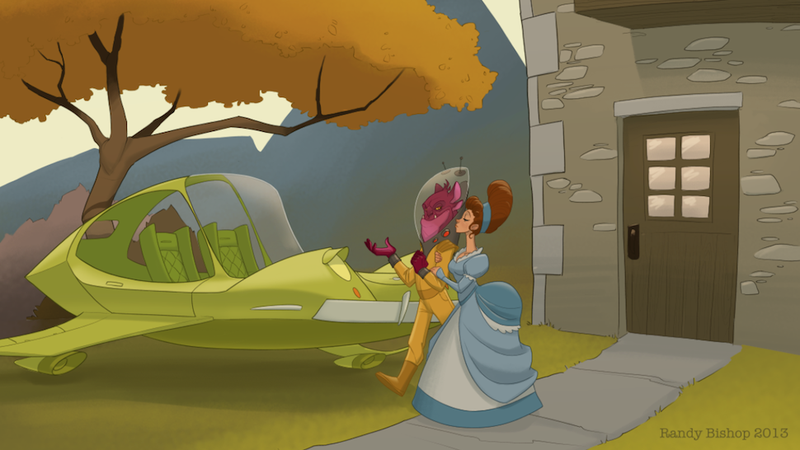 Illustration for article titled Concept Art Writing Prompt: The Gentleman Alien Escorts a Lady