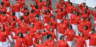 Members of Delta Sigma Theta at the Tournamernt of Roses Parade in January. (Alberto E. Rodriguez/Getty Images)