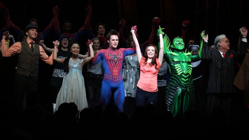 Opening-night curtain call of Spider-Man: Turn Off The Dark (Image: Walter McBride/Getty)