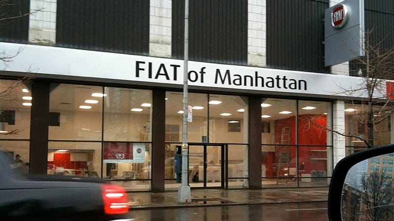 """Illustration for article titled Yes, that sign really does say """"Fiat of Manhattan"""""""