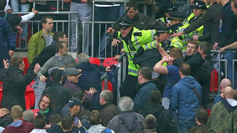 Illustration for article titled FA Cup Semifinal Gets Violent As Millwall Fans Fight Cops, Each Other