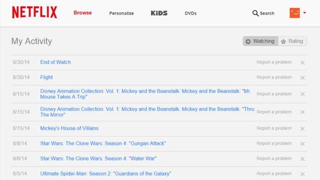 Netflix viewing history