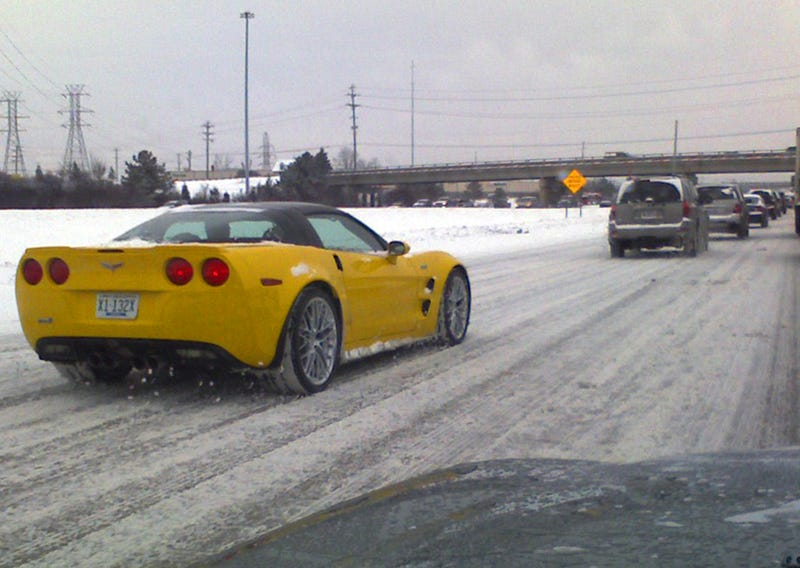 Illustration for article titled Caption This: Corvette ZR1 Braving Snowy Detroit Freeways