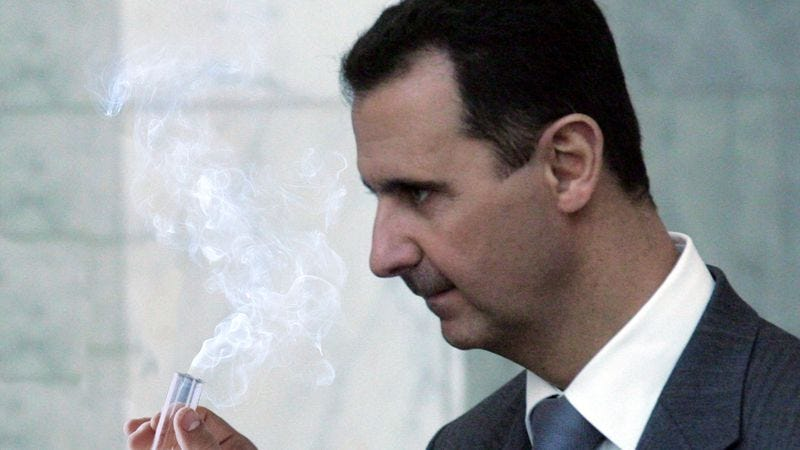 Illustration for article titled Bashar Al-Assad Tries Tiny Bit Of Sarin Gas On Self To See What It's Like