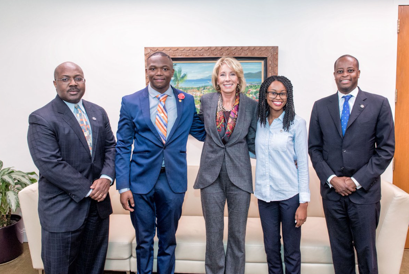 """Great conversation today w/@usedgov @BetsyDeVos [center]. Looking forward to more opportunities to discuss important work of advancing HU and HBCUs."" —a tweet from Wayne A.I. Frederick, president of Howard University, right (HUPrez17 via Twitter)"