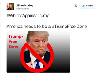 Example of a tweet using #WhitesAgainstTrumpTwitter