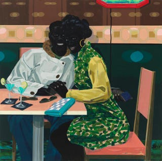 Kerry James Marshall, Untitled (Club Couple), 2014, acrylic on PVC panel, 61 by 61 inches. Copyright Kerry James Marshall 2014. All rights reserved.Courtesy of David Zwirner, London