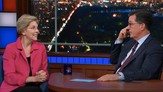 "Elizabeth Warren offers a confident, ""No thanks, I got this"" to Stephen Colbert's campaign advice"