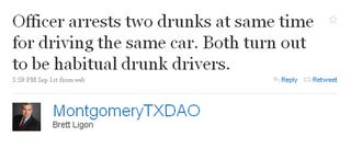 Illustration for article titled Texas County Shames Drunk Drivers on Twitter
