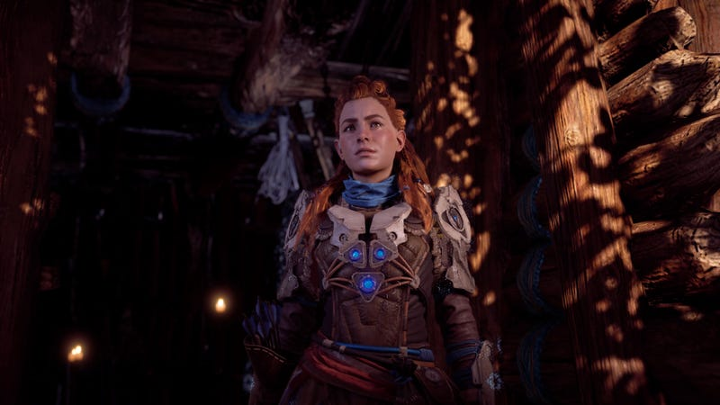 Thanks to New Game +, here's Aloy in Horizon's best armor before she's even cleared a bandit camp or climbed a Tallneck.