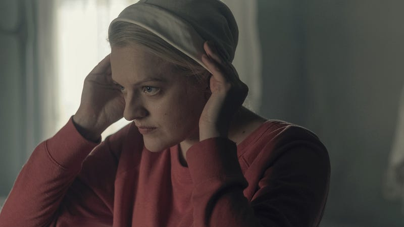 Offred (Elisabeth Moss) probably doesn't feel super sexy putting this on.