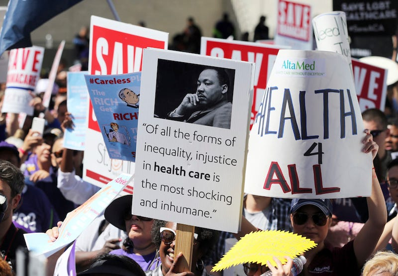 Photo of a protest in Los Angeles against the American Health Care Act on March 23, 107 via AP