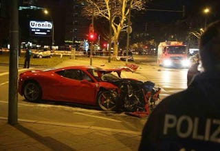 Illustration for article titled The first Ferrari 458 to go on the road crashes in Berlin
