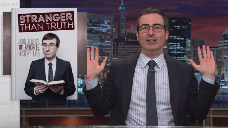 Illustration for article titled In a new web exclusive, John Oliver says he's releasing a book next spring