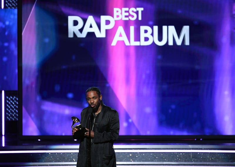 Recording artist Kendrick Lamar accepts Best Rap Album for Damn. onstage during the 60th Annual Grammy Awards at Madison Square Garden in New York City on Jan. 28, 2018. (Kevin Winter/Getty Images for NARAS)