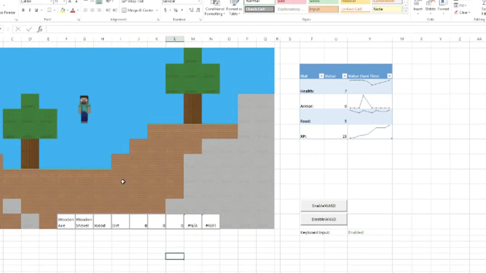 Ya puedes jugar a Minecraft en Microsoft Excel