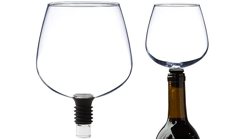 Illustration for article titled Guzzle Buddy Turns Wine Bottles Into Wine Glasses So You Can Sip Without Shame