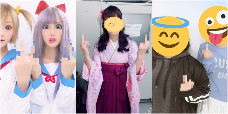 Illustration for article titled Flipping Middle Fingers Becomes A Photo Trend Among Pop Team Epic Fans