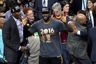 LeBron James of the Cleveland Cavaliers reacts after defeating the Golden State Warriors 93-89 in Game 7 of the 2016 NBA Finals at Oracle Arena in Oakland, Calif., on June 19, 2016.Thearon W. Henderson/Getty Images