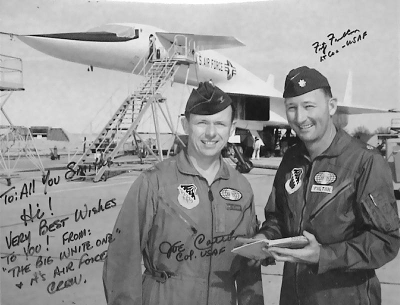 Joe Cotton with long time colleague and close friend Fitz Fulton and the glorious XB-70 ca. 1964