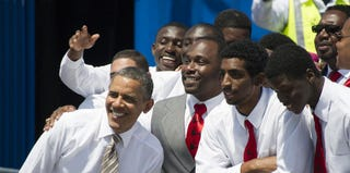 President Obama poses with supporters in Miami on March 29, 2013. (Jim Watson/AFP/Getty Images)