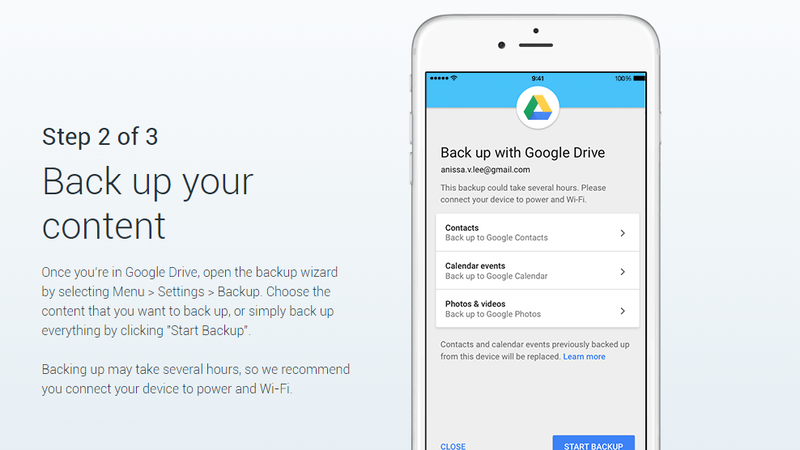 Illustration for article titled Google's New Drive Backup Tool Makes Switching From iOS to Android Easier