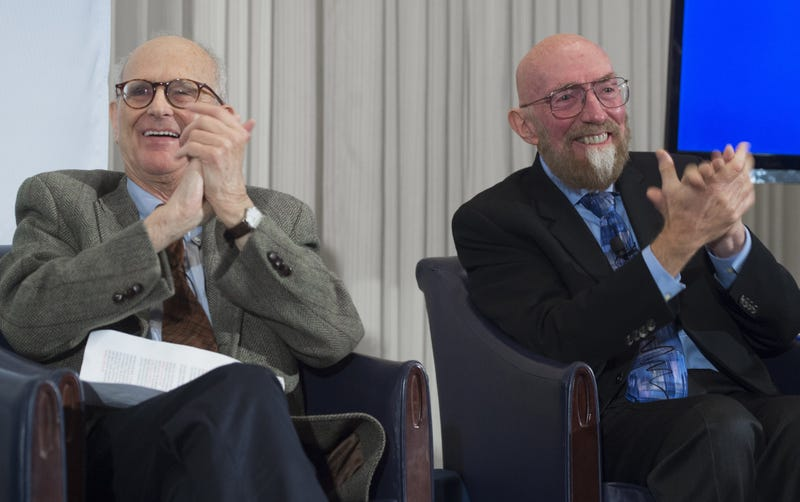 LIGO co-founders Kip Thorne (R), and Rainer Weiss (L) sharing the discovery of gravitational waves, via Getty Images