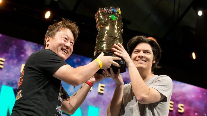 "Capcom executive Yoshinori Ono crowns last year's Marvel vs. Capcom champion, Jonathan ""Cloud805"" Morales (photo c/o Capcom)"